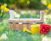 Wooden vat outdoors — Stock Photo