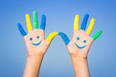 Happy smiley hands — 图库照片