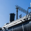 View of the boiler, chimney, and steam dome of an old steam loco — Stock Photo #58189057
