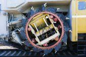 Railway rotary dredge machine. Closeup view of the rotary shovel — Stock Photo