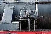 Teilansicht des eine mechanische Ausrüstung um eine Dampflokomotive — Stockfoto