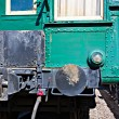 Partial rear view of an old passenger railroad carriage on rails — Stock Photo #58194259