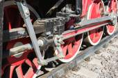 Closeup view of steam locomotive wheels, drives, rods, links and — Stock Photo