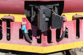Clouseup view of the rail cleaner, pilot or cow catcher of an ol — Stock Photo