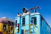 Closeup view of a service electical railroad engine of blue colo — Stock Photo