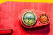 Closeup view of an old locomotive headlight. Minimalistic photog — Stock Photo