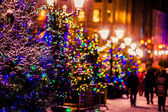 Illuminated and decorated Stoleshnikov lane of Moscow on the Chr — Stock Photo