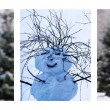 Triptych - Christmas Trees And Snowman — Stock Photo #58201137