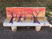 VIAREGGIO, ITALY - July 23:   Paintings on benches during the su — Stock Photo
