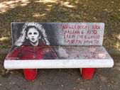 VIAREGGIO, ITALY - July 23:   Paintings on benches during the su — Zdjęcie stockowe