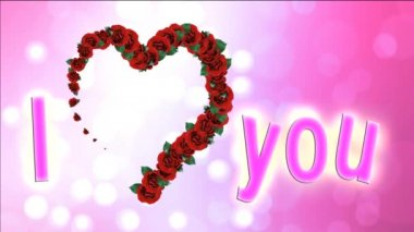 Hearts footage with pink background. Pink footage for wedding video or intro with title. Spring video background with animated flowers hearts. Animated footage background for films or greeting cards. — Vídeo stock