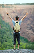 Man with raised hands — Stock Photo