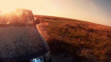 Driving along autumn grassland — Stock Video