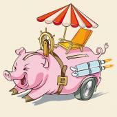 Pig piggy or rapid accumulation — Stock Vector