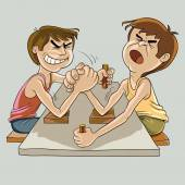 Armwrestling among Amateurs — Stock Vector
