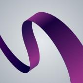 Purple fabric curved ribbon — Stok Vektör