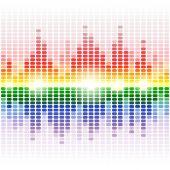Rainbow shining digital equalizer background — Stock Vector