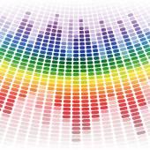 Rainbow warped digital equalizer background — Stock Vector