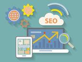 Vector Flat Design style illustration of website analytics searc — Stock Photo