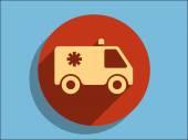 Flat icon of ambulance — ストックベクタ