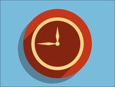 Flat icon of clock — Stock Vector