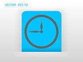 Flat icon of clock — Vector de stock