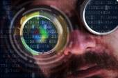Peeking over data flows - hacking concept with futuristic man — Stock Photo