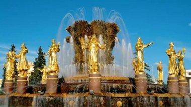 Brunnen Völkerfreundschaft in Moskau — Stockvideo