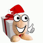 Little potato man with christmassy gift — Stock Photo