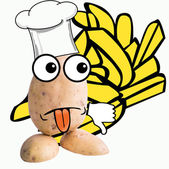 Little potato man chef junk food — Foto de Stock
