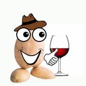 Little potato man wine glass — Stock Photo