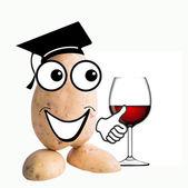 Little potato man sommelier diploma — Stock Photo