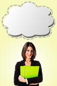 Executive business woman with strip cartoon — Stock Photo