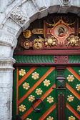 Ornate door of house brotherhood blackheads in Tallinn — Stock Photo
