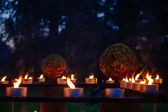 Candles, grass and wood fire Festival, pagan holiday in Estonia — Stock Photo