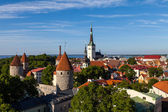 Panorama of Tallinns old town at sunset — Stock Photo