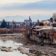 Mountain river and little old city Kutaisi, Georgia — Stock Photo #67377883