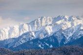 Snow Mountain range in the sunset — Stock Photo
