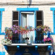 Medieval balcony with flower pots — Stock Photo #53466825