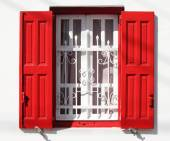 Window with grille and red shutters — Stockfoto