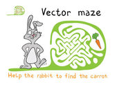 Vector Maze, Labyrinth with Rabbit  and Carrot. — Stock Vector