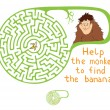 Vector Maze, Labyrinth with Monkey and Banana. — Stock Vector #52517809