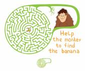 Vector Maze, Labyrinth with Monkey and Banana. — Stock Vector
