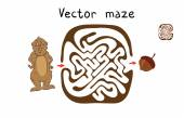 Vector Maze, Labyrinth with Marmot and Nut. — Stock Vector