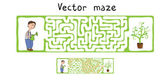 Vector Maze, Labyrinth with Gardener and Plant. — Vetorial Stock