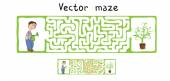 Vector Maze, Labyrinth with Gardener and Plant. — Stock Vector