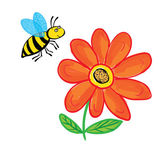 Flying Bee with flower, isolated on white — Stock Vector