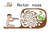 Vector Maze, Labyrinth with Snake and Fakir — Stock Vector