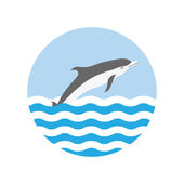 Round icon with a water wave and dolphin — Stock Vector