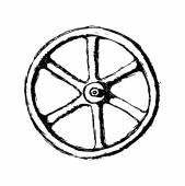 Wheel or Valve, vector sketch illustration — 图库矢量图片